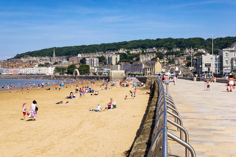 Weston-Super-Mare beach and promenade in summer, Somerset, UK