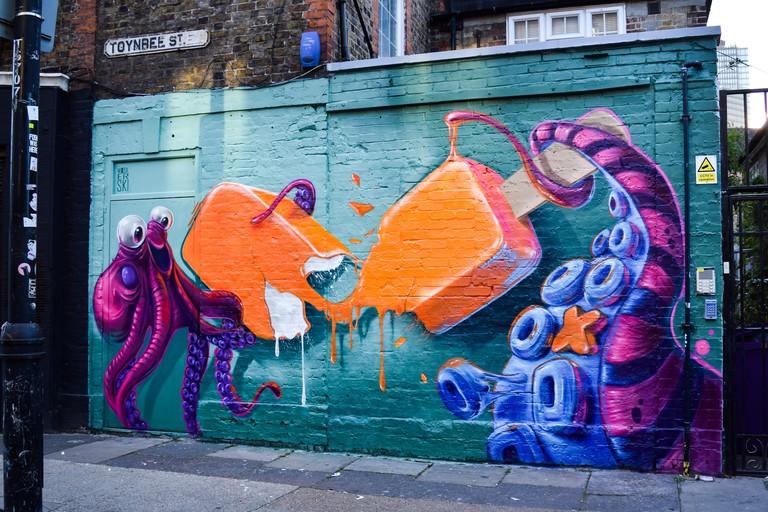 Woskerski - London Mural Festival - Toynbee street _ 59 Wentworth ST, E1 7TD