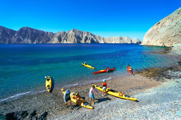sea kayaking in bay of Sham in the Strait of Hormuz, Oman, Musandam, Khasab