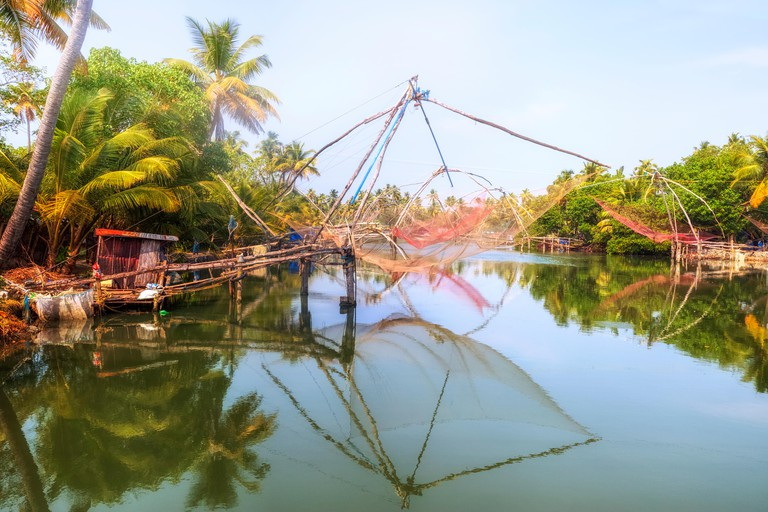 Chinese fishing nets, Kochi, Kerala, India, Asia