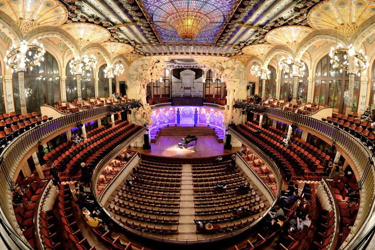 BARCELONA - FEB 24: The Palau de la Musica Catalana (Palace of Catalan Music) a concert hall designed in the Catalan modernista style by the architect
