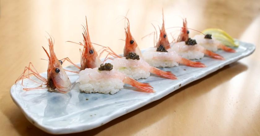 Neta Omakase botan shrimp sushi