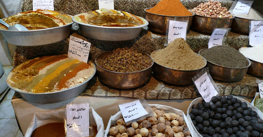Spices and dry fruits at a shop in the Bazaar-e Vakil, Iran  © dynamosquito/Flickr