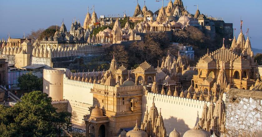 Jain temples on top of Shatrunjaya hill in Palitana, Gujarat, India