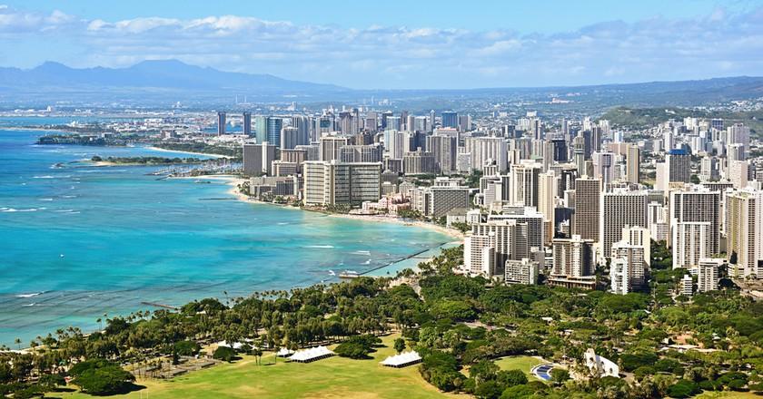 Honolulu And Waikiki Beach On Oahu Hawaii View From The Famous Diamond Head Hike