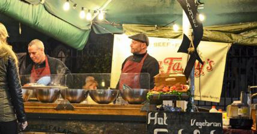 Working Lunch At Borough Market, London