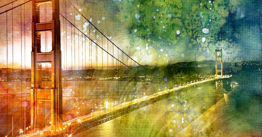 Golden Dawn Bridge watercolor © Nicolas Raymond/Flickr