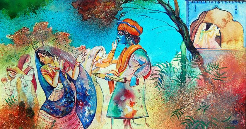 A Beautiful Painiting Depicting Holi Being Played Between Radha and Krishna (C) Biswajit Das