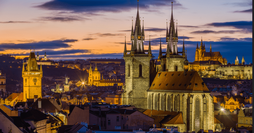 Prague from Powder Tower, with Our Lady before Týn, St. Nicolas, and St. Vitus Cathedral  © Jiuguang Wang/Flickr
