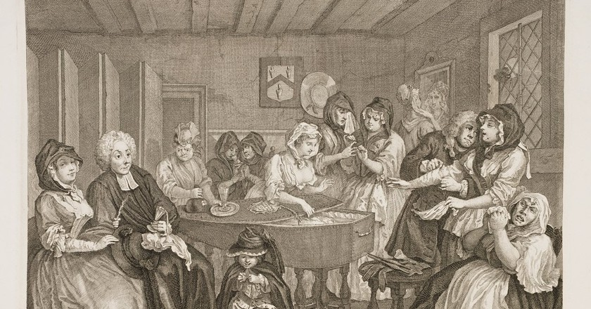 Hogarth, A Harlot's Progress, Plate 6, 313 x 385 mm, British Museum, 1732 | © Yomangani/WikiCommons