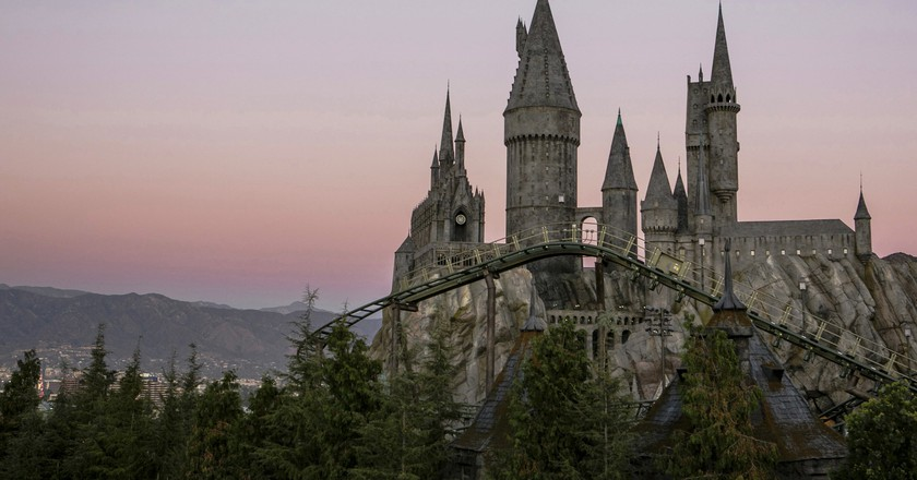 Hogwarts castle, with a view of Flight of the Hippogriff, Universal Studios Hollywood's first outdoor roller coaster