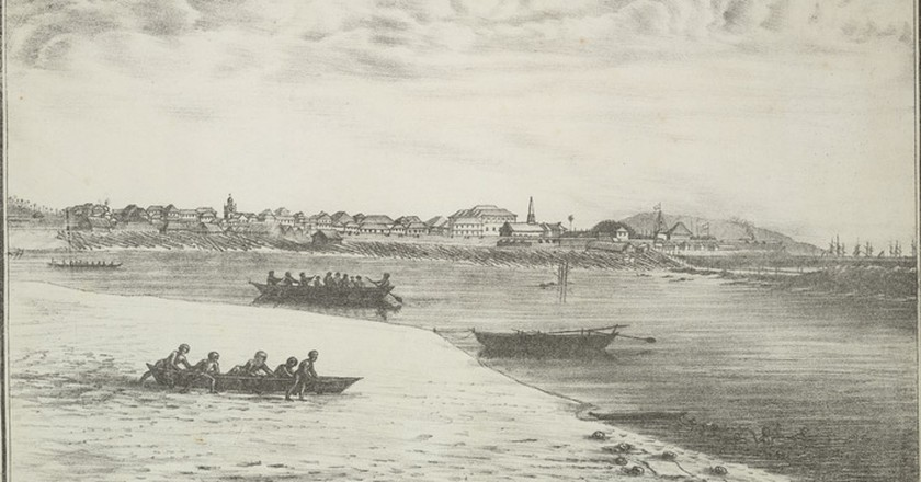 Colaba Causeway construction using timber, viewed from Colaba island, 1826 | © Jose M. Gonsalves (fl. 1826-c.1842)/WikiCommons