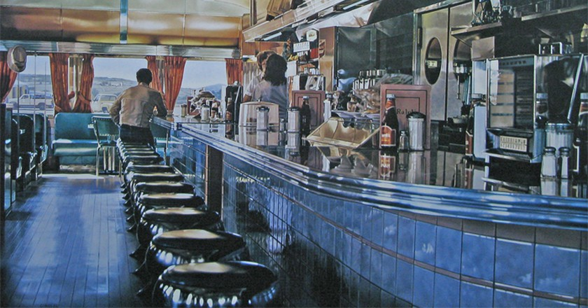 Ralph's Diner (1981-1982), Oil on canvas. Example of photorealist Ralph Goings' work | WikiCommons
