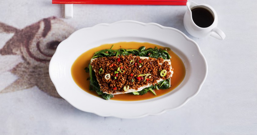 Spicy Bean Crumb Steamed Seabass | Courtesy of Luckee