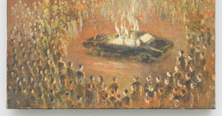 Francis Alÿs Linchados, 2010 Oil on canvas on wood 7 1/8 x 5 3/8 inches (18 x 13.5 cm) Courtesy David Zwirner, New York/London