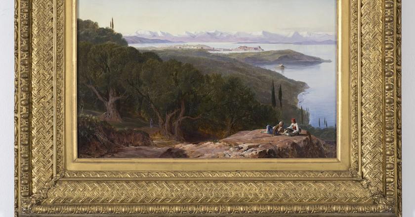 Edward Lear, View From the Benitza Road, near Gastouri, Corfu, 1855-8 | Courtesy of The Fine Art Society