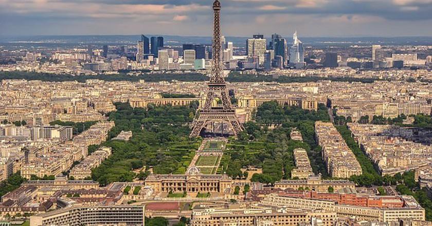 Rooftop view of Eiffel Tower in Paris
