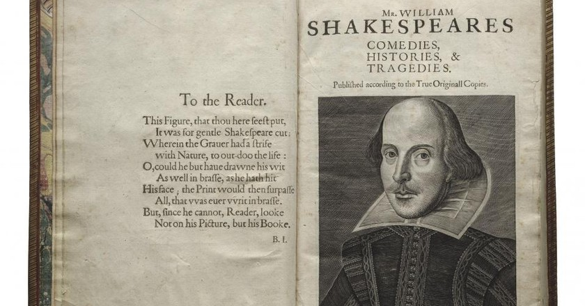 Shakespeare First Folio, 1623. Folger Shakespeare Library. Title page with Droeshout engraving of Shakespeare.