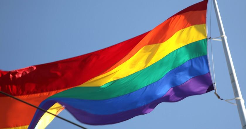 Harvey Milk Plaza flag © torbakhopper/Flickr
