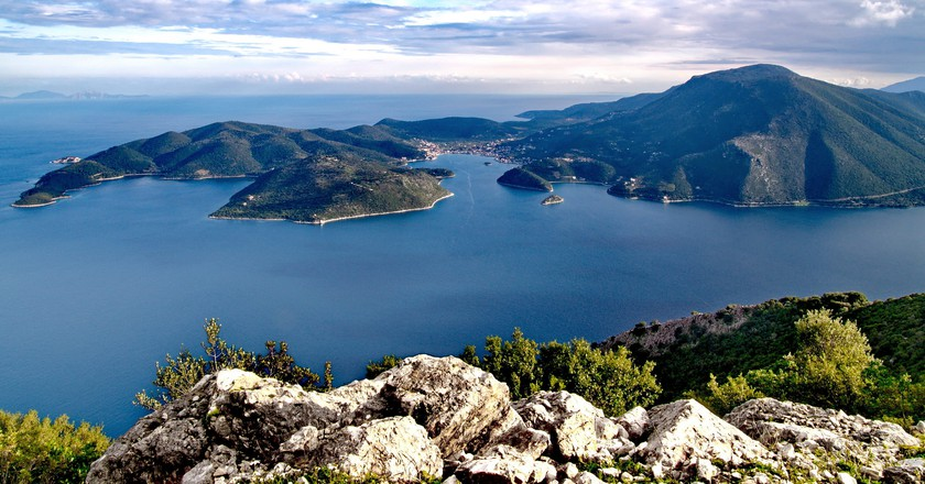 View of Vathy & Ionian Sea, Ithaca, Greece