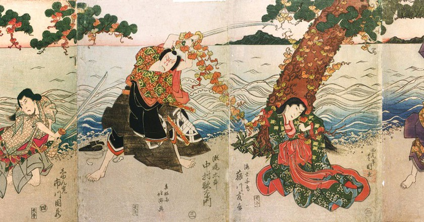A depiction of a 1824 performance in Osaka | © WikiCommons