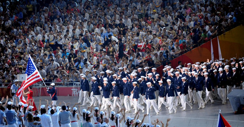 Team USA during the Opening Ceremony of the 2008 Olympics   commons.wikimedia.org