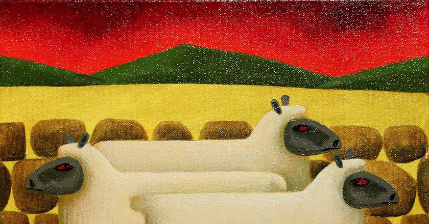 Red Sky in the Morning, Shepherds Warning by Graham Knuttel   Courtesy of Gormley's Art Auctions