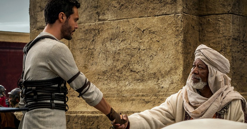 Jack Huston plays Judah Ben-Hur and Morgan Freeman plays Ilderim in Ben-Hur from Metro-Goldwyn-Mayer Pictures and Paramount Pictures.