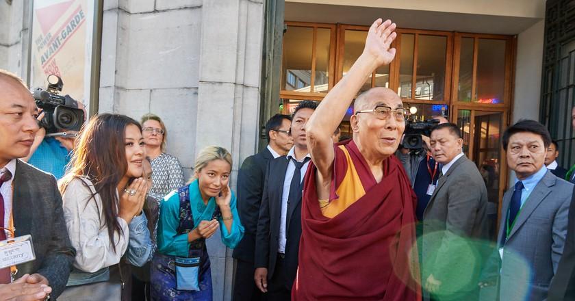 The Dalai Lama arrives at Brussels' cultural temple Bozar   © Olivier Adam - Mind & Life Europe
