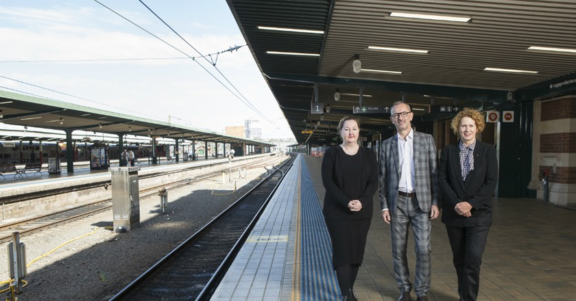 Three directors of the partnering institutions behind the new exhibition, the MCA (Elizabeth Ann Macgregor), Art Gallery of NSW (Dr Michael Brand) and Carriageworks (Lisa Havilah) | Courtesy of The National