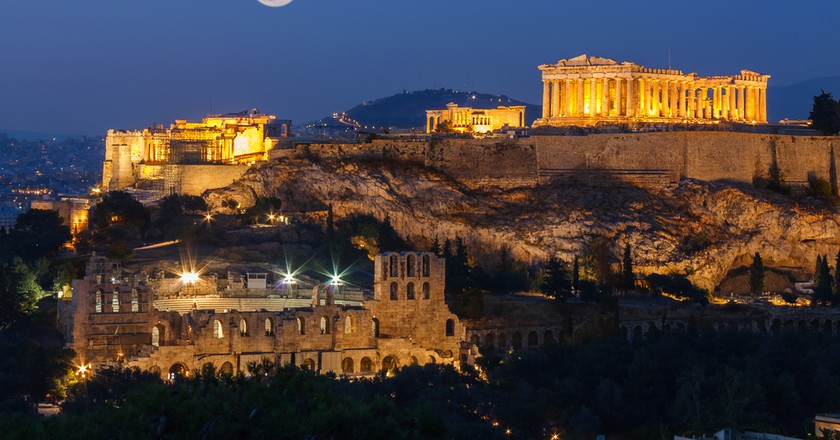 Parthenon and Herodium construction in Acropolis Hill in Athens ©Nick Pavlakis / Shutterstock