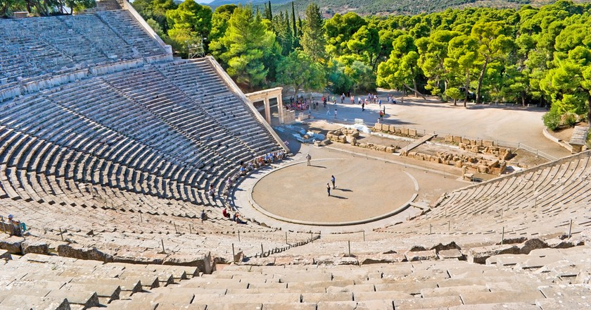 The stone amphiteater in Epidaurus is the fine example of the ancient greek architecture ©eFesenko / Shutterstock