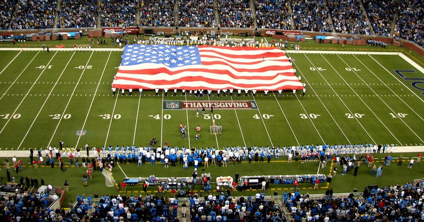 The Detroit Lions (above) and Dallas Cowboys are two Thanksgiving Day staples in the NFL. | © Flickr/Dave Hogg