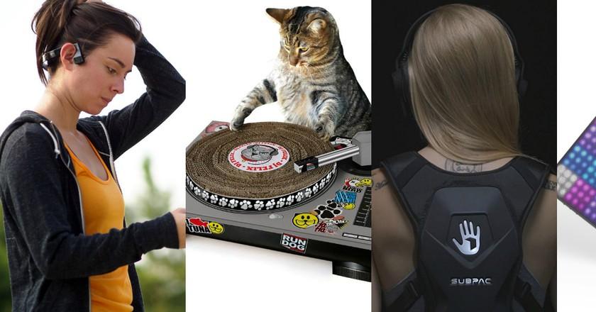 Aftershokz headphones, Cat scratching deck, SubPac M2, and Roli Lightpad   © Amazon/Roli