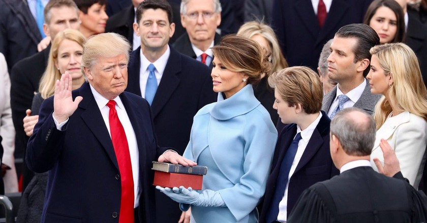 Donald Trump being sworn in before his inauguration speech | © White House photographer/WikiCommons