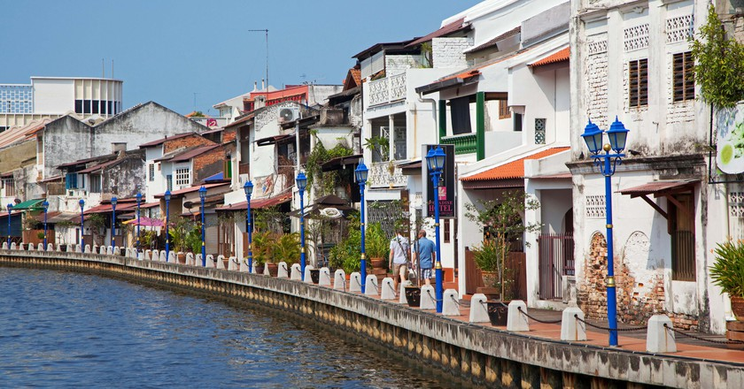 Malacca River lined with colonial style houses