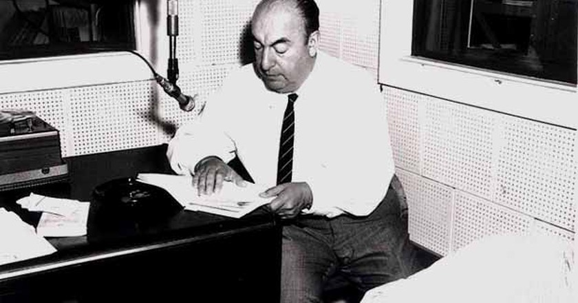 Pablo Neruda during a Library of Congress recording session, 20 June 1966 (Public Domain)