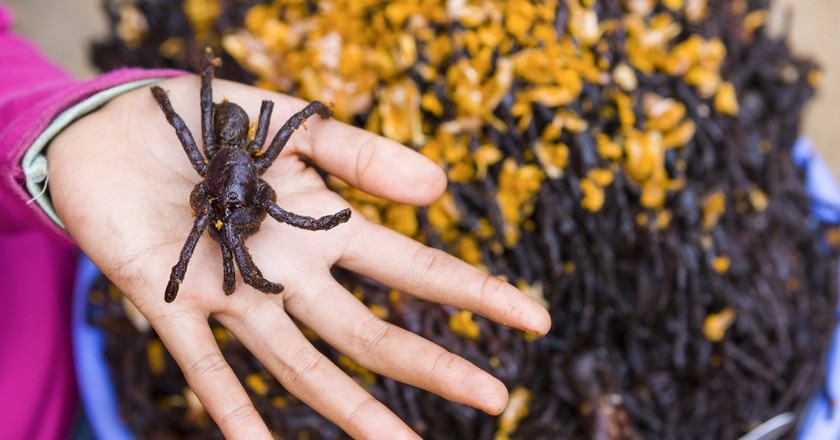 Deep-fried tarantulas are a delicacy in Cambodia.