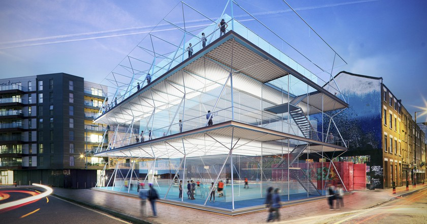 A rendering of the stackable football pitch concept | Courtesy of AL_A