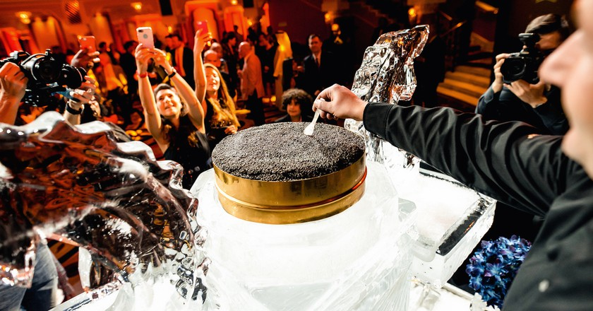 The largest tin of caviar in the world presented by Amstur and the Burj Al Arab | Courtesy of Amstur