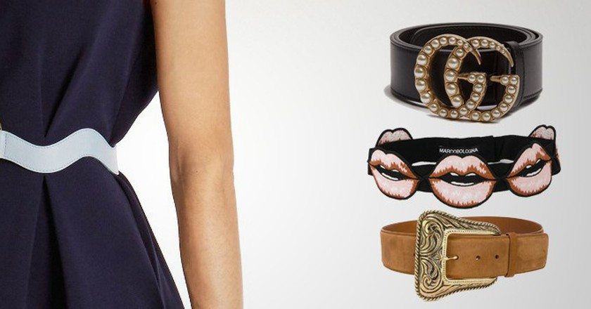 From L–R: belts from Roskanda, Gucci, Saint Laurent