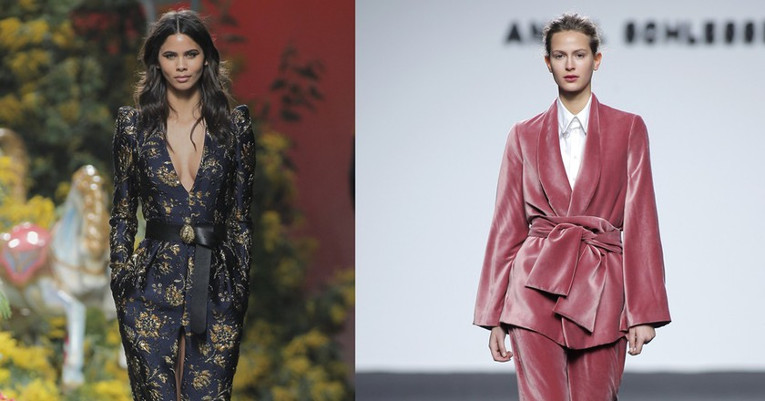 Jump on the AW17/18 Madrid runway trends, like floral patterns from Jorge Vazquez (left) or belted velvet menswearfrom Angel Schlesser (right) | © Foto Ugo Camera/IFEMA