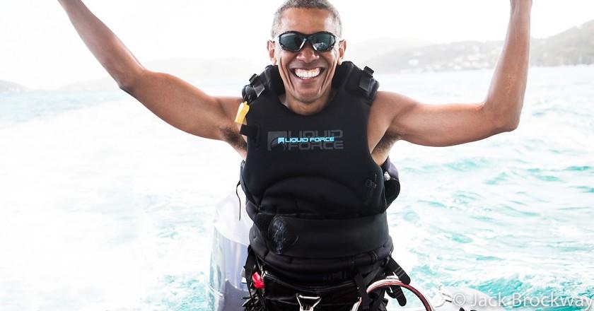 Richard Branson taught Barack Obama (above) how to kitesurf   © Virgin/Jack Brockway