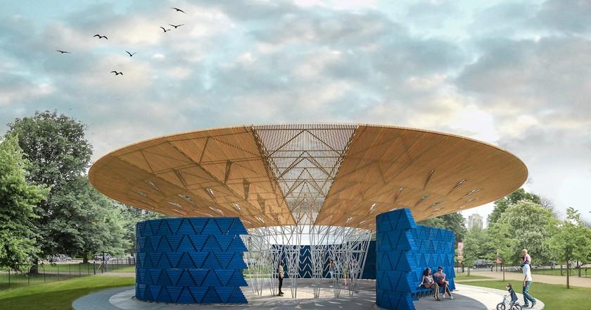 Serpentine Pavilion 2017, Designed by Francis Kéré, Design Render, Exterior ©Kéré Architecture