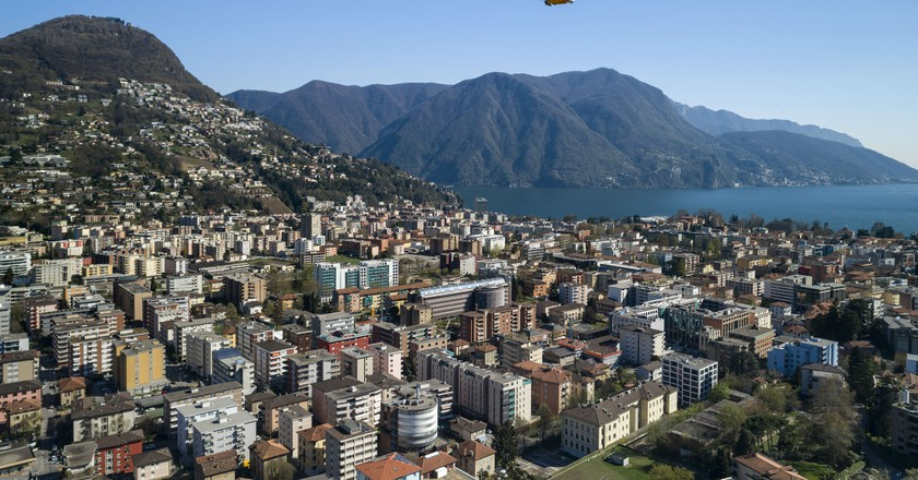 The drone over Lugano   Courtesy of Swiss Post