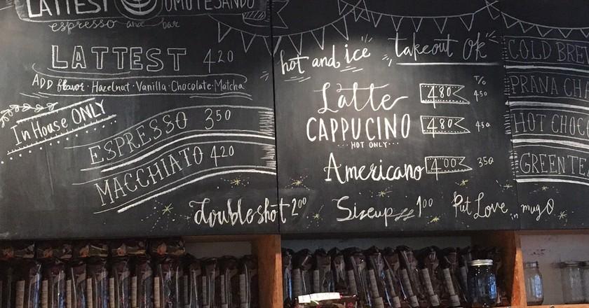 The chalkboard at Lattest Omotesando Espresso Bar   © Alicia Joy
