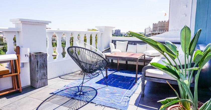 The rooftop terrace at HotelHotel del Carmen in Valencia. Photo courtesy of HotelHotel del Carmen