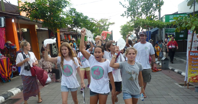 The Bye Bye Plastic Bag team march through the streets in protest against plastic pollution | Courtesy of Bye Bye Plastic Bags