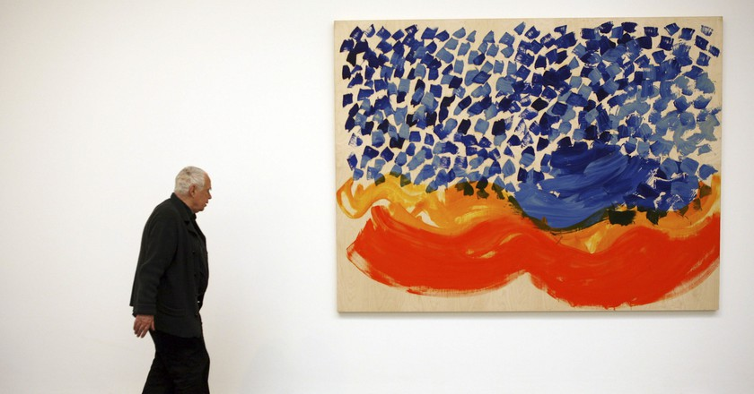Howard Hodgkin with 'Where Seldom Is Heard a Discouraging Word' at the opening of his exhibition at the Gagosian Gallery in London   © David Sandison/The Independe/REX/Shutterstock
