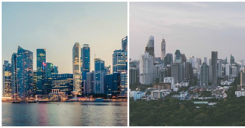 Singapore © Peter Nguyen   Bangkok © Sven Scheuermeier/unsplash
